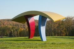 """...what fun to play with the ambiguity and variability of color."" David Stromeyer's sculpture 'Tango' at the Cold Hollow Sculpture Park."