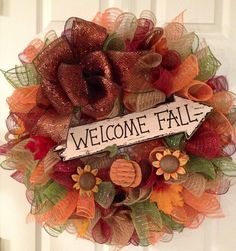 Welcome Fall Deco Mesh Wreath on Etsy, $52.00