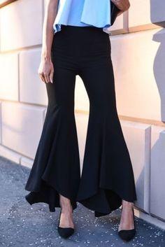 ZARA Black STUDIO Asymmetric Extra Flared Trousers Pantalon M REF: 2603 778 Spring 2016 printemps