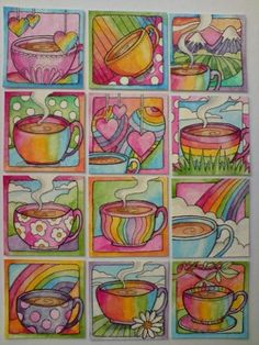 Illustrated ATCs - Gallery - Rainbow Teacup Inchies.