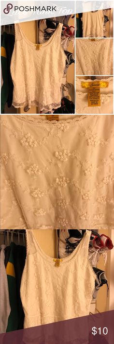 Lace cream tank top Used only once.  For sale great price.  I looked it over nothing found snags etc.  For sale as is of course.  Happy poshing. Finesse Tops Tank Tops