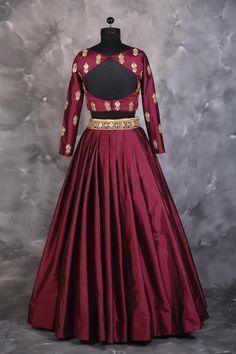 Wine Croptop & Skirt Set - waliajoness - 2