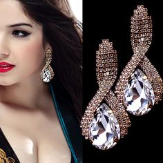 Moda europea y americana diamanti cz cristallo orecchini en forma de lágrima scintillante cristal pendientes gioielli