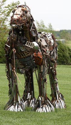 https://flic.kr/p/4VrRZp | Iron Horse IX | Strange horse sculpture made up of old bits of bank paraphanalia