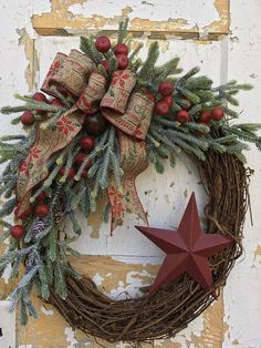 Rustic Christmas Wreath for Front Door Christmas Primitive