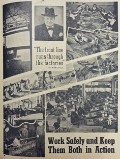"""The front line runs through the factories"" - Churchill. Advertisement from the North Midland Times newspaper in May 1942 reiterating the value of factories and their safe operation towards the war effort."