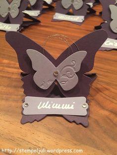 Stampin Up Platzkarte Namensschild Tischdeko Schmetterling Glitzer Taufe Kommunion Hochzeit