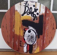 Hommage á MIRO,Originale Acryl-Malerei auf Rund-Keilrahmen D=90cm in Antiquitäten & Kunst, Direkt vom Künstler, Malerei   eBay!