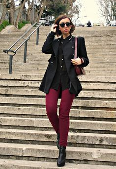 Zara in Coats, H in Shirt / Blouses, Stradivarius in Pants, Stradivarius in Ankle Boots / Booties