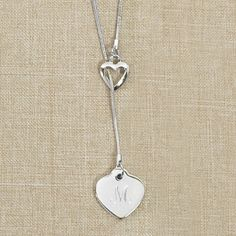 Heart necklace with monogram. Bridemaids gift idea.  Valentines Day gift.