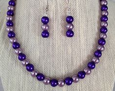Purple Pearl Necklace, Bridesmaid Jewelry, Beaded Jewelry, Purple Wedding, Purple Earrings, Bridesmaid Gift, Wedding Jewelry