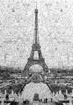 """""""complex doodle drawing by Sagaki Keita"""" Gran estilo de Dibujo........"""