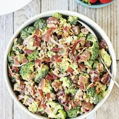 Creamy bacon broccoli salad is one of the best broccoli salads ever. It features bacon, grapes, sunflower seeds