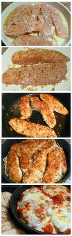 Skillet Chicken Parmesan Over Pasta   CookJino