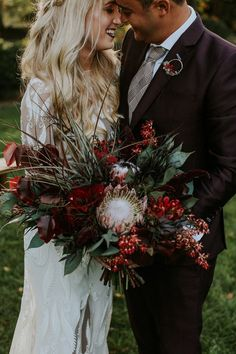 Winter idea - overflowing wedding bouquet with red flowers and greenery {Marissa Reneé Weddings & Events} Summer Wedding Bouquets, Red Bouquet Wedding, Bride Bouquets, Boho Wedding, Floral Wedding, Wedding Colors, Dream Wedding, November Wedding Flowers, Wedding Dresses