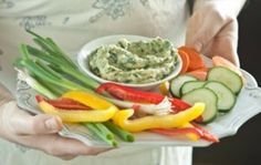 Creamy Spinach Dip (vegan, gluten-free) - Rich avocado and pureed white beans give this crowd-pleasing, healthy dip its creamy texture. Serve with carrots, celery and red bell pepper for dipping.
