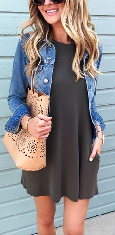 #summer #outfits / olive green dress + denim shirt