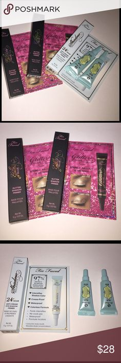 Too Faced 5 Deluxe Primer Samples New Too Faced 5 Deluxe Primer Samples New: 2 glitter glue and 3 shadow insurance. Never used. No low ball offers please. Thanks! MAC Cosmetics Makeup Eye Primer