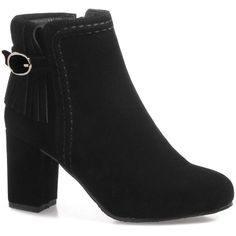 Black 39 Fringe Buckle Strap Stitching Boots (332.285 IDR) ❤ liked on Polyvore featuring shoes, boots, kohl shoes, fringe shoes, fringe boots, black shoes and stitch shoes