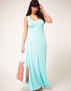 aqua jersey maxi dress  #plus #size #fashion #dress #maxi
