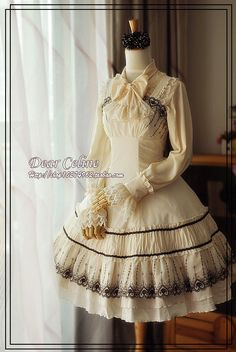 Dear Celine Early Autumn Exquisite Classical Embroidery lolita JSK in cream