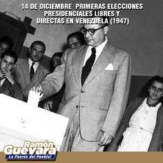 #14Dic de 1947 se celebraron las primeras elecciones presidenciales libres y directas en Venezuela. resultó electo Don Rómulo Gallegos de AD