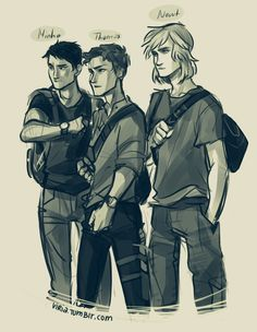 Viria's art is amazing. I especially love this drawing of Minho, Thomas, and Newt from The Maze Runner! Viria's art is amazing. I especially love this drawing of Minho, Thomas, and Newt from The Maze Runner! Newt Maze Runner, Maze Runner Thomas, Newt Thomas, Thomas Brodie, Maze Runner Trilogy, Maze Runner Series, Viria, Hunger Games, Book Nerd