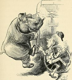 Hippo smoking a cigar scares a train conductor. That's what life's all about. Public domain.