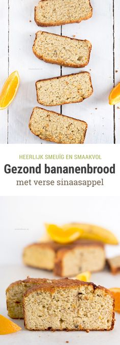 Recept voor een gezond bananenbrood op basis van amandelmeel. Gemaakt met griekse yoghurt en verse sinaasappel. Heerlijk smeuïg en super vullend! :) Healthy Cake, Healthy Baking, Healthy Snacks, Healthy Recipes, Sweets Recipes, Baking Recipes, Desserts, Fodmap Breakfast, Breakfast Time
