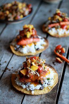 Caribbean Jerk Salmon Tostadas with Grilled Pineapple Peach Coconut Salsa |by halfbakedharvest #Tostados #Salmon