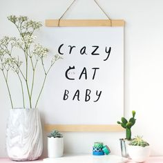 DIY COMPLETED Crazy Cat Baby Print Nursery Print Cat by SunshineAndSalt and like OMG! get some yourself some pawtastic adorable cat apparel! Baby Nursery Diy, Baby Room Decor, Girl Nursery, Nursery Decor, Peach Nursery, Diy Baby, Nursery Room, Baby Prints, Nursery Prints
