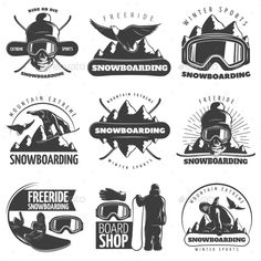 Buy Snowboarding Emblem Set by VectorPot on GraphicRiver. Black isolated snowboarding emblem set with titles ride or die free ride winter sports mountain extreme and board sho. Snowboarding Tattoo, Snowboarding Mountains, Tattoo Project, Badge Design, Branding, Graphic Shirts, Logo Design Inspiration, Vector Design, Graphic Design