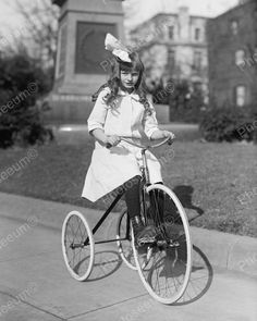 Girl Riding Tricycle 1917 Vintage 8x10 Reprint Of Old Photo 1