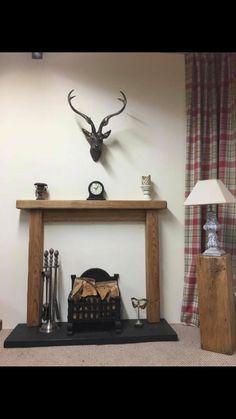 Oak Fire Surround / With Fascia ( 15 cm x 4.5 cm mantle ) + fixings #surround #SurroundBelfast #FireSurround #OakFireSurroundUk #WoodenFireSurround #RusticFireSurround #MadeToMeasure #FirePlaceSurround #OakFireSurround #FireSurroundUk Masonry Wall, False Wall, Oak, Floating Mantle, Oak Fire Surround, French Oak, Wooden Fire Surrounds, Fire Surround, Oak Shelves