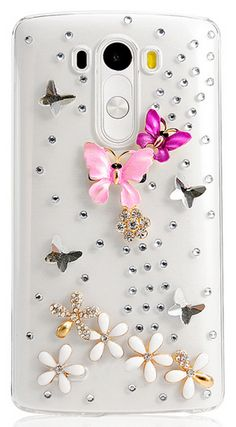LG G3 - Exquisite 3D Crystal Butterfly & Flower Rhinestone Bling Clear Hard Case
