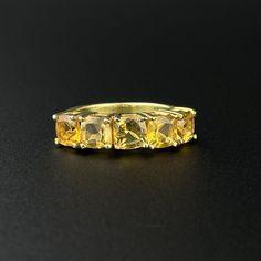 Vintage Gold Vermeil 5 Stone Citrine Half Eternity Band