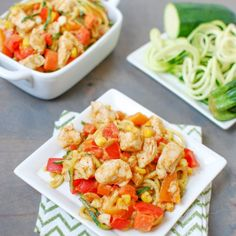 Zoodles with Chicken and Spicy Almond Butter Sauce are low-carb, high in protein and makes veggies flavorful and fun to eat!