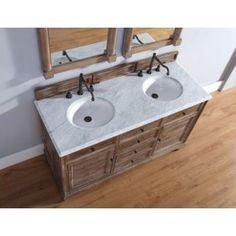 "Bathroom Vanities :: 60"" or more :: James Martin Furniture 238-104-5611 60"" Savannah Driftwood Double Bathroom Vanity Base (Optional Countertops)"