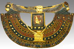 This gilded cartonnage collar once rested on the chest of the mummy, just below the mask. Under the wing tips of the scarab are seated representations of Hor-Ma-Khis with solar disks.Period: Egypt, New Kingdom, New Kingdom Dating: 1570 BC–1070 BC