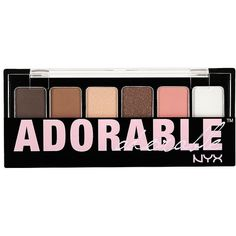 Charlotte Russe NYX Professional Makeup Adorable Eye Shadow Palette ($7.50) ❤ liked on Polyvore featuring beauty products, makeup, eye makeup, eyeshadow, beauty, eyes, brown, palette eyeshadow, charlotte russe and mineral eye shadow