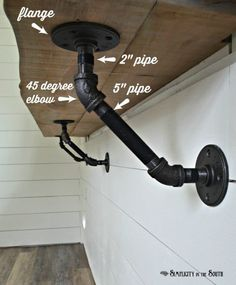 Vintage Industrial Decor How to make an industrial bar bracket - Tutorial on how to make industrial bar or counter brackets using black steel plumbing parts. These are used for the live edge bar in the cottage shed project. Live Edge Bar, Live Edge Counter, Wood Counter, Bar Shelves, Shelving, Live Edge Shelves, Room Shelves, Pipe Furniture, Industrial Furniture