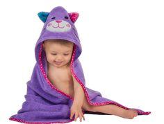 "ZOOCCHINI Baby Hooded Towel Kitten Purple One Size 30""x 30"" Cotton Free Shipping #ZOOCCHINI"