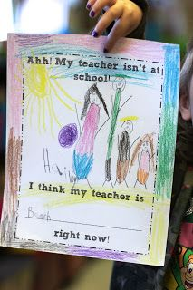 Substitute teacher activity for when you are out of your classroom! Have students guess what their teacher is doing!
