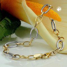 Armband, Ankerkette oval, 9Kt GOLD  Weitanker, jedes 3. Kettenglied ist etwas größer und in Weißgold