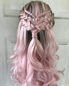 cool hairstyles - Lace Frontal Wigs Pink Blonde Hair With Pink Roots For Women Pink Blonde Hair, Pink Wig, Blue Hair, Long Pink Hair, Blonde Brunette, White Hair, Pretty Hairstyles, Braided Hairstyles, Permed Hairstyles