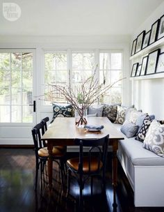 dining room design for a tight space. Cushioned bench