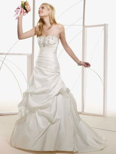 A-line floor-length taffeta bridal gown with ruffle embellishment