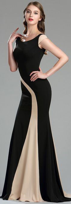 eDressit Elegant Black and Champagne Mermaid Occasion Dress