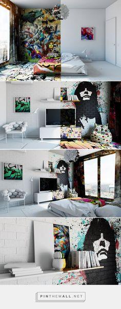 Half White, Half Graffiti: Designer Splits Hotel Room Into Two Worlds // Pavel Vetrov