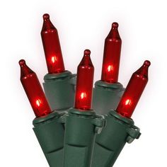 Set of 35 Red Mini Christmas Lights - Green Wire by Vickerman. Save 14 Off!. $5.99. Set of 35 Mini Christmas Lights Item #W4G0353  Features: Color: red bulbs / green wire Number of bulbs on string: 35 Bulb size: mini Spacing between each bulb: 4 inches (10.16cm) Spacing from plug to first bulb: 4 inches (10.16cm) Tail length: 4 inches (10.16cm) Lighted string length: 11.5 feet (3.5m) Total string length: 12 feet (3.65m)  Additional Product Features: These lights are made to commerc...